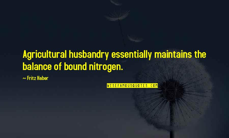 Nitrogen Quotes By Fritz Haber: Agricultural husbandry essentially maintains the balance of bound