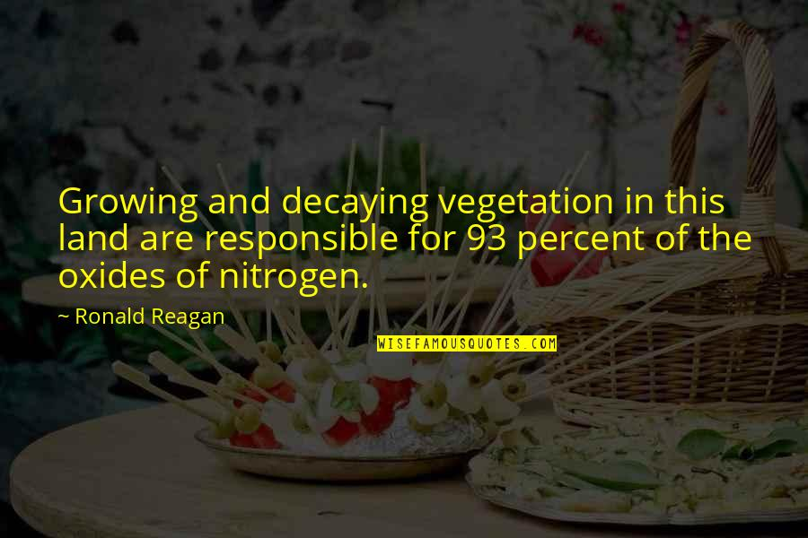 Nitrogen Quotes By Ronald Reagan: Growing and decaying vegetation in this land are