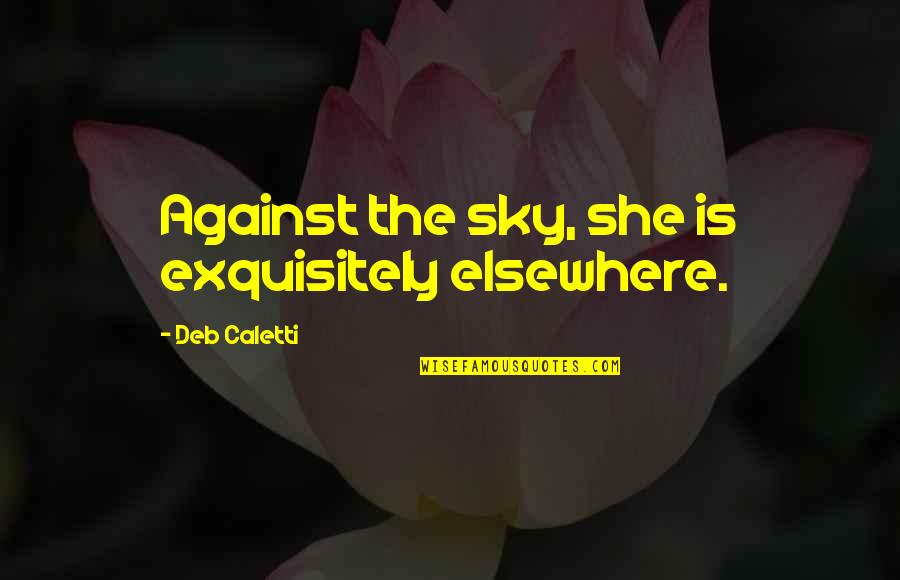 No Boyfriend Allowed Quotes By Deb Caletti: Against the sky, she is exquisitely elsewhere.