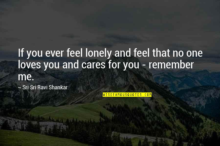 No Cares Quotes By Sri Sri Ravi Shankar: If you ever feel lonely and feel that