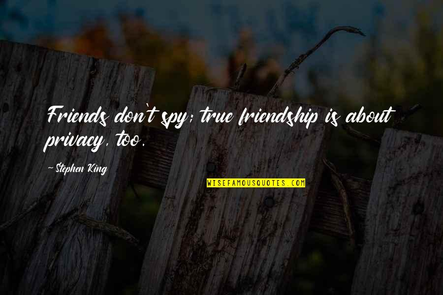 No Easy Day Book Quotes By Stephen King: Friends don't spy; true friendship is about privacy,
