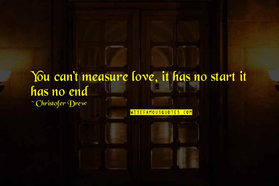 No End Love Quotes By Christofer Drew: You can't measure love, it has no start