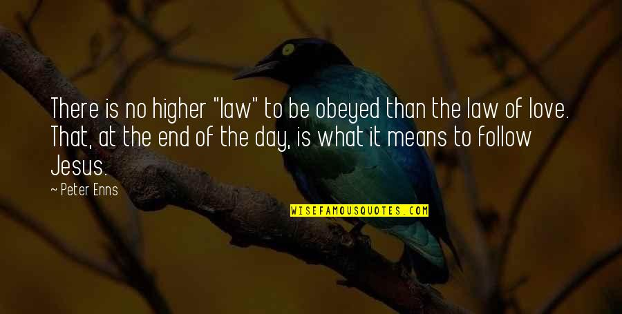 "No End Love Quotes By Peter Enns: There is no higher ""law"" to be obeyed"