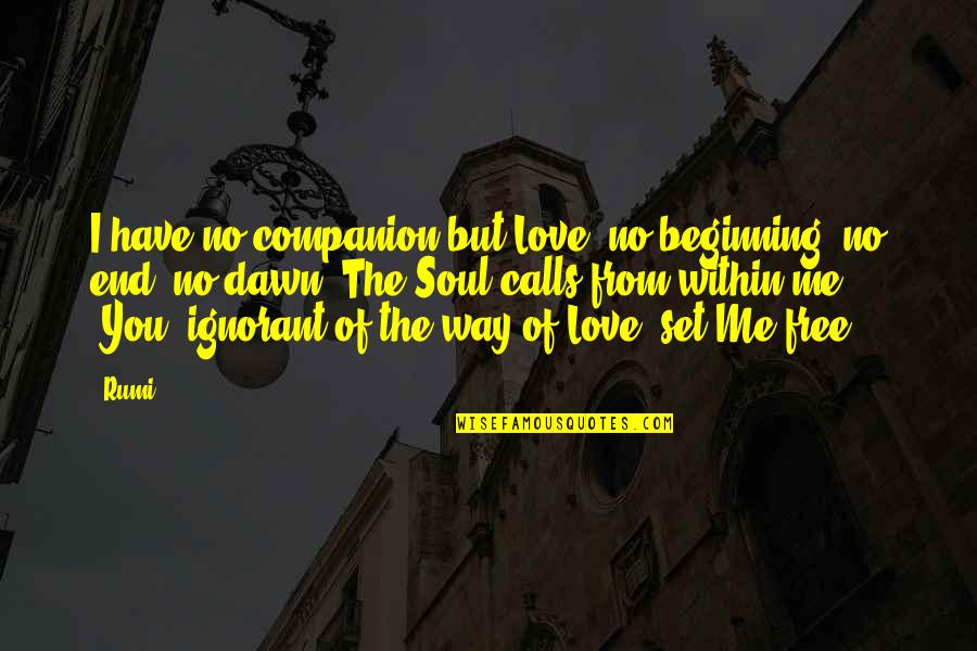 No End Love Quotes By Rumi: I have no companion but Love, no beginning,
