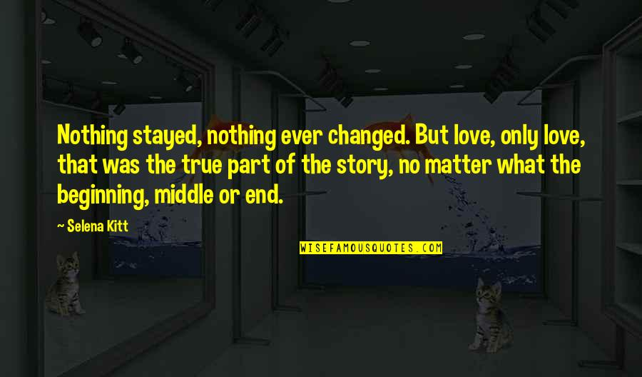 No End Love Quotes By Selena Kitt: Nothing stayed, nothing ever changed. But love, only