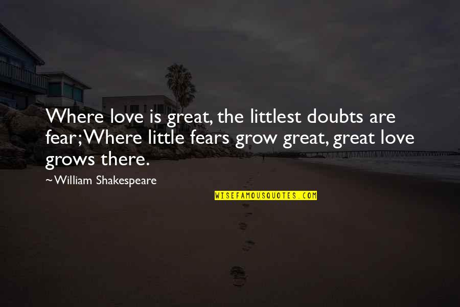 No Fear Shakespeare Quotes By William Shakespeare: Where love is great, the littlest doubts are