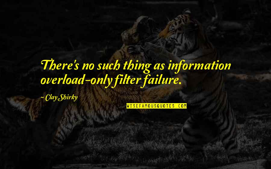No Filters Quotes By Clay Shirky: There's no such thing as information overload-only filter