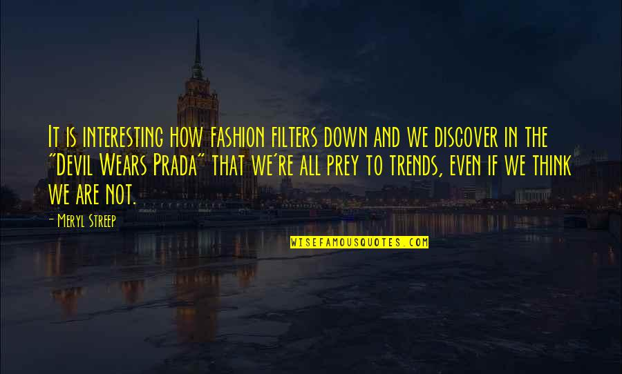 No Filters Quotes By Meryl Streep: It is interesting how fashion filters down and