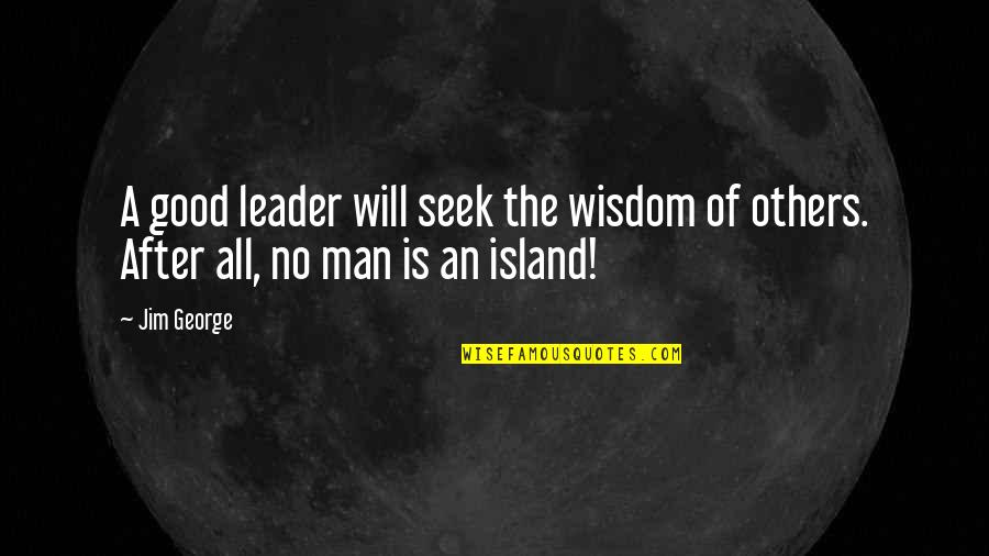 No Good Men Quotes By Jim George: A good leader will seek the wisdom of