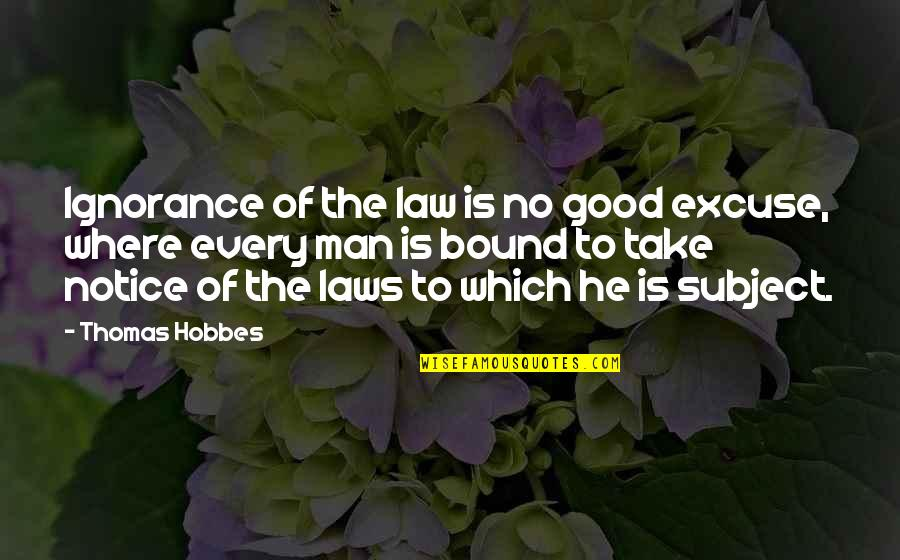 No Good Men Quotes By Thomas Hobbes: Ignorance of the law is no good excuse,