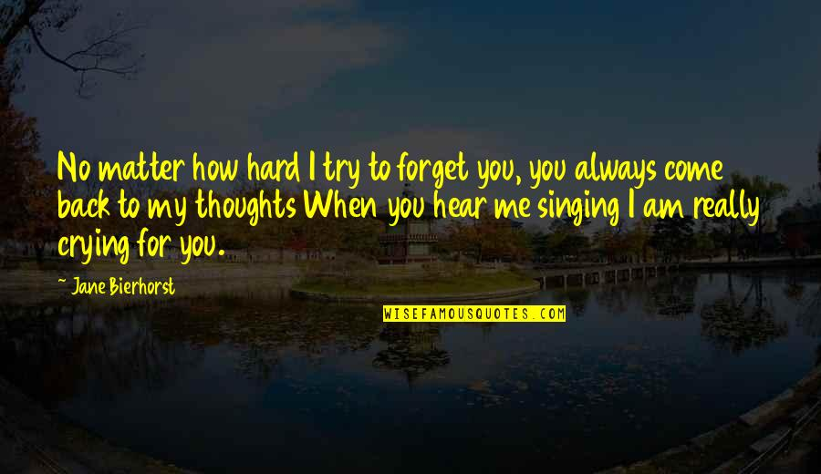 No Matter How Hard I Try To Forget You Quotes By Jane Bierhorst: No matter how hard I try to forget