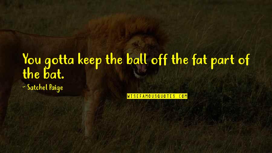 No Matter What Happens Family Quotes By Satchel Paige: You gotta keep the ball off the fat