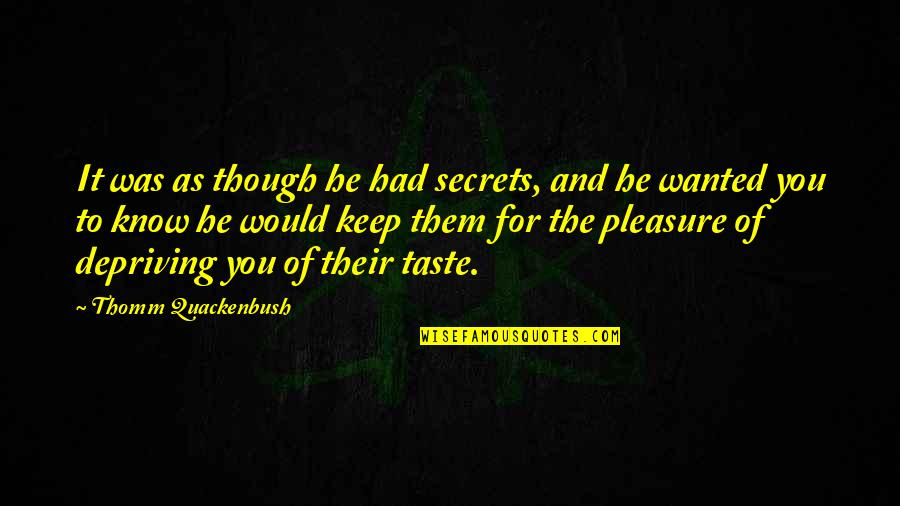 No More Secrets Quotes By Thomm Quackenbush: It was as though he had secrets, and