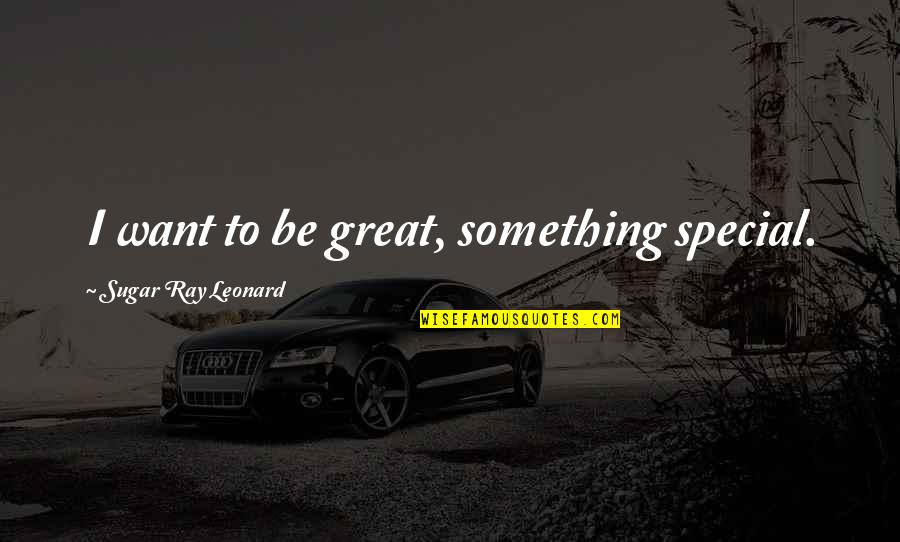 No More Sugar Quotes By Sugar Ray Leonard: I want to be great, something special.