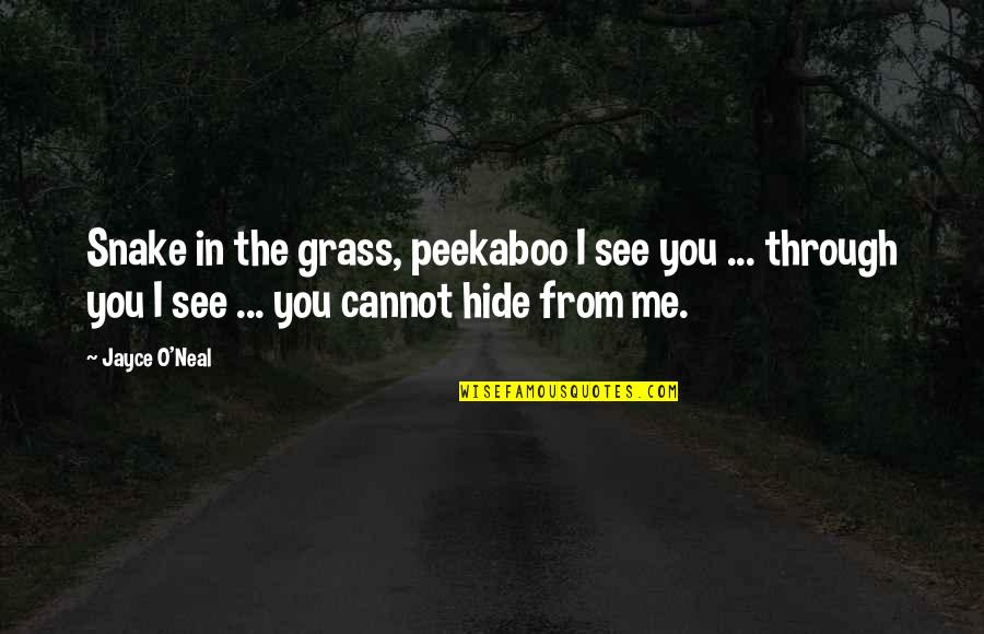 No One Else Compares Quotes By Jayce O'Neal: Snake in the grass, peekaboo I see you