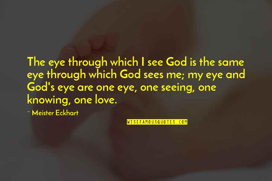 No One Knowing You Quotes By Meister Eckhart: The eye through which I see God is
