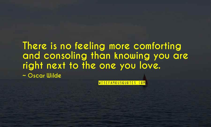 No One Knowing You Quotes By Oscar Wilde: There is no feeling more comforting and consoling