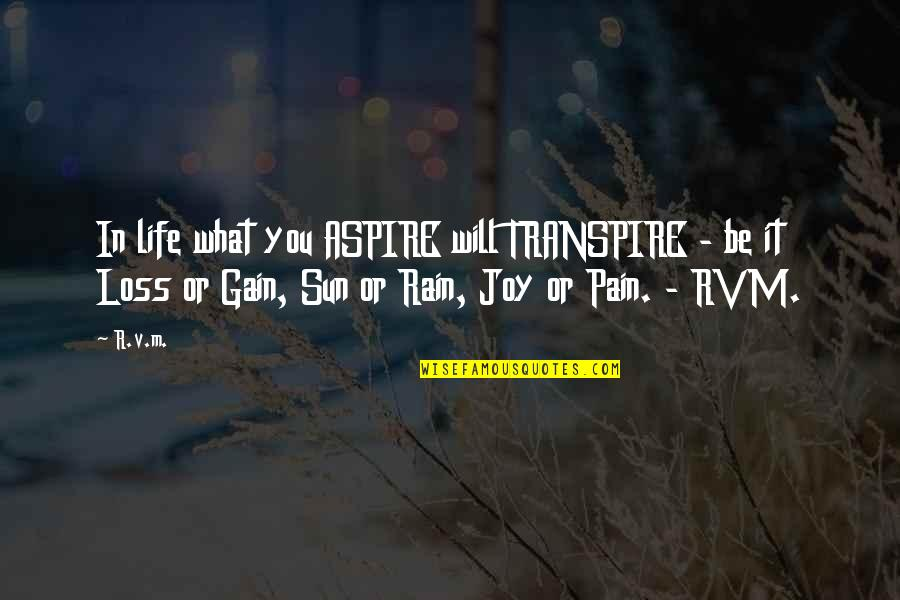 No Pain No Gain And Other Quotes By R.v.m.: In life what you ASPIRE will TRANSPIRE -