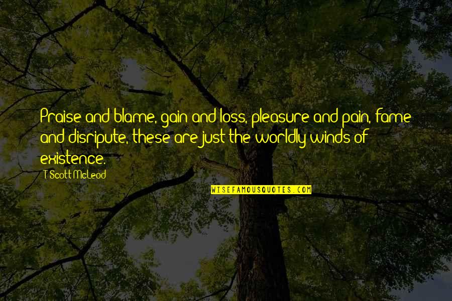 No Pain No Gain And Other Quotes By T. Scott McLeod: Praise and blame, gain and loss, pleasure and