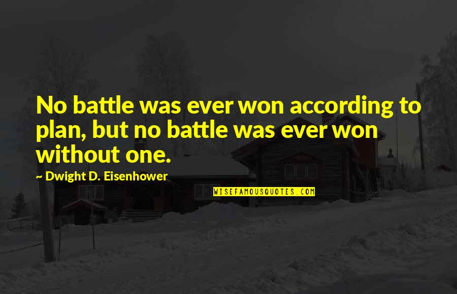 No Plans Quotes By Dwight D. Eisenhower: No battle was ever won according to plan,