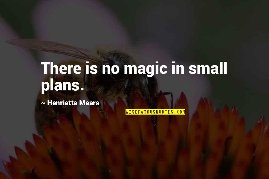 No Plans Quotes By Henrietta Mears: There is no magic in small plans.
