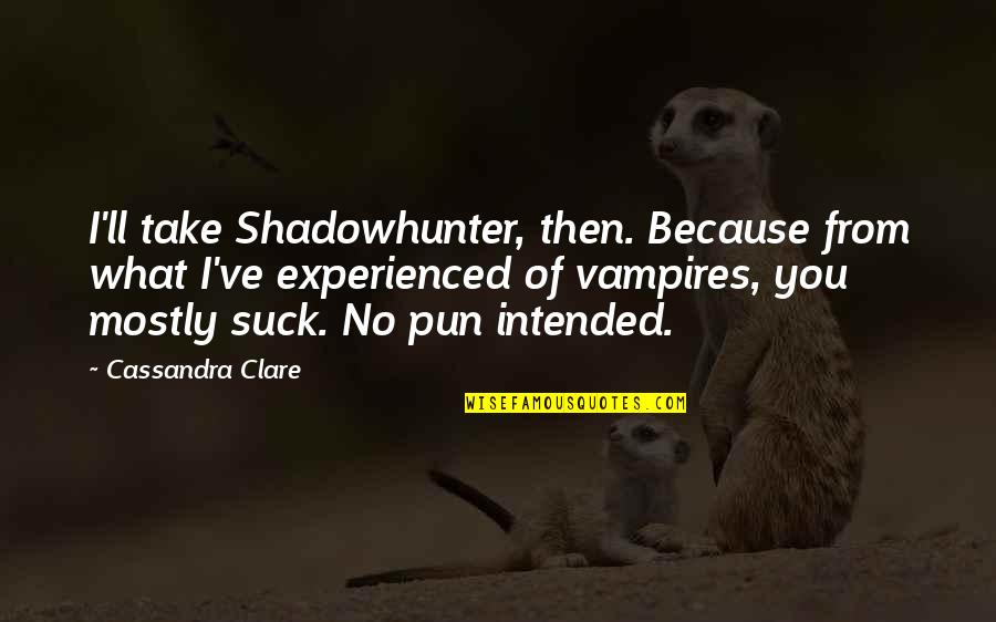 No Pun Intended Quotes By Cassandra Clare: I'll take Shadowhunter, then. Because from what I've