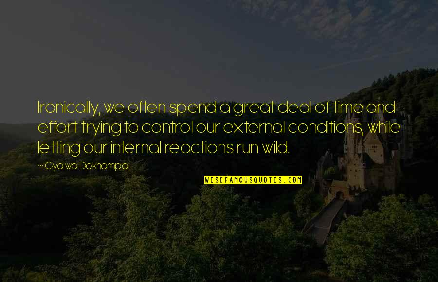 No Reactions Quotes By Gyalwa Dokhampa: Ironically, we often spend a great deal of