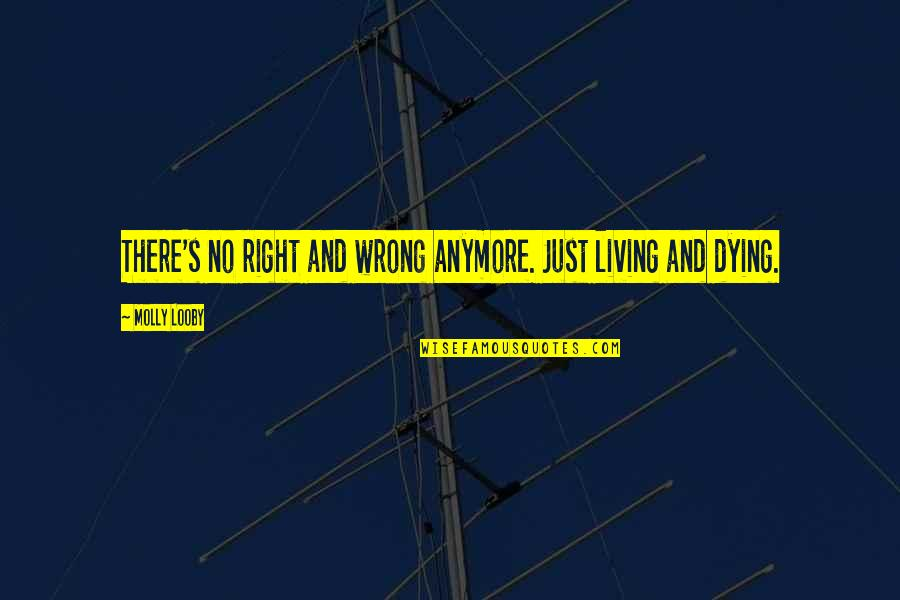 No Right And Wrong Quotes By Molly Looby: There's no right and wrong anymore. Just living