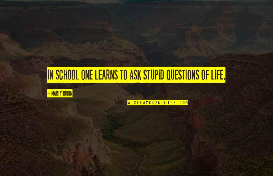 No Stupid Questions Quotes By Marty Rubin: In school one learns to ask stupid questions