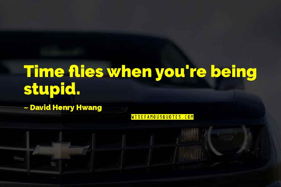 No Time For Drama Quotes By David Henry Hwang: Time flies when you're being stupid.