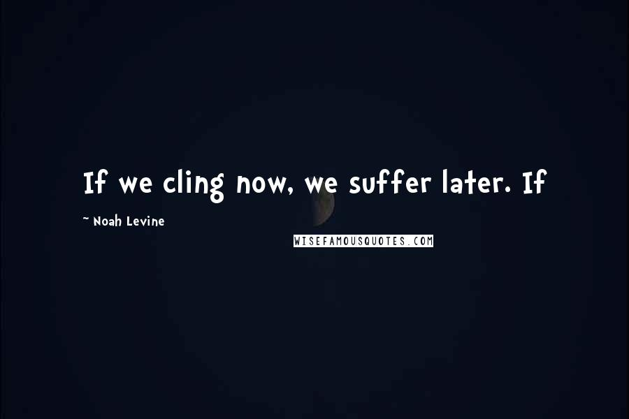 Noah Levine quotes: If we cling now, we suffer later. If