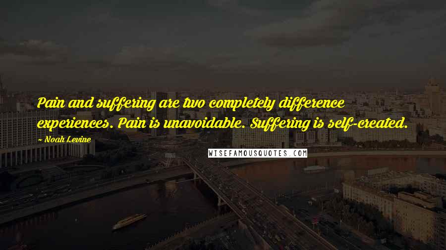 Noah Levine quotes: Pain and suffering are two completely difference experiences. Pain is unavoidable. Suffering is self-created.