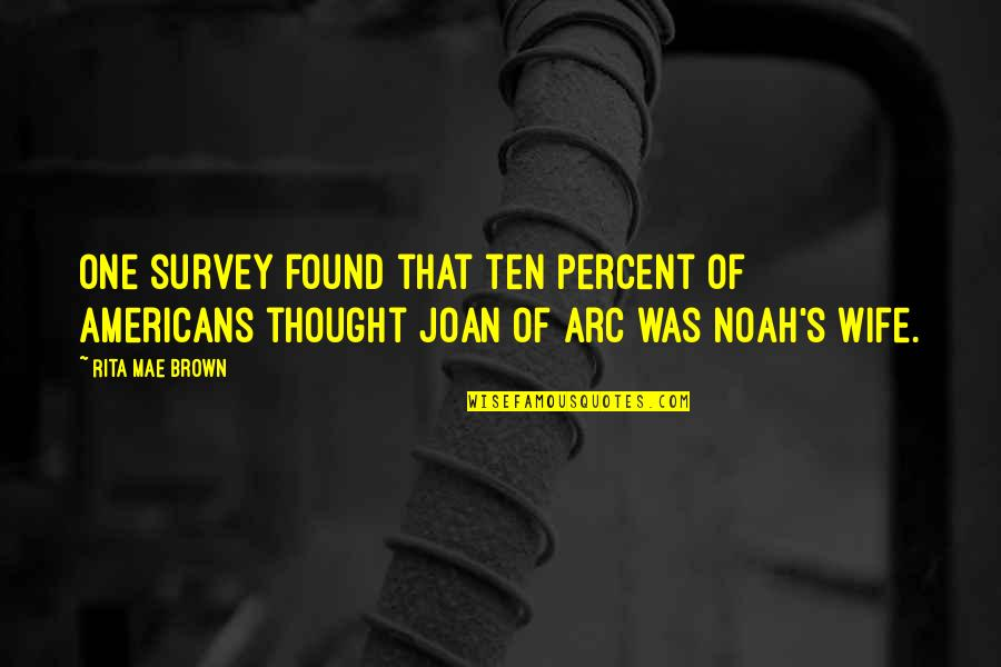 Noah's Arc Quotes By Rita Mae Brown: One survey found that ten percent of Americans