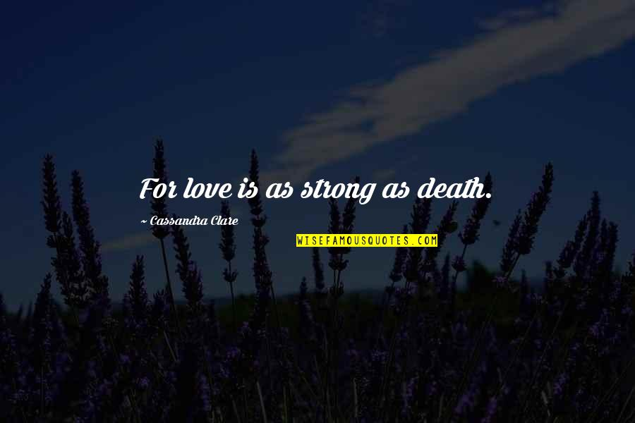 Nobody Can Go Back Quotes By Cassandra Clare: For love is as strong as death.