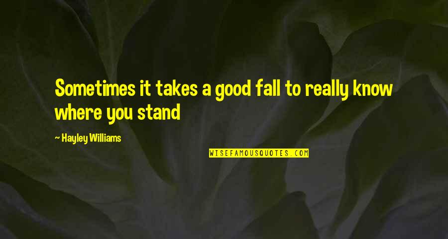 Nobody Can Go Back Quotes By Hayley Williams: Sometimes it takes a good fall to really