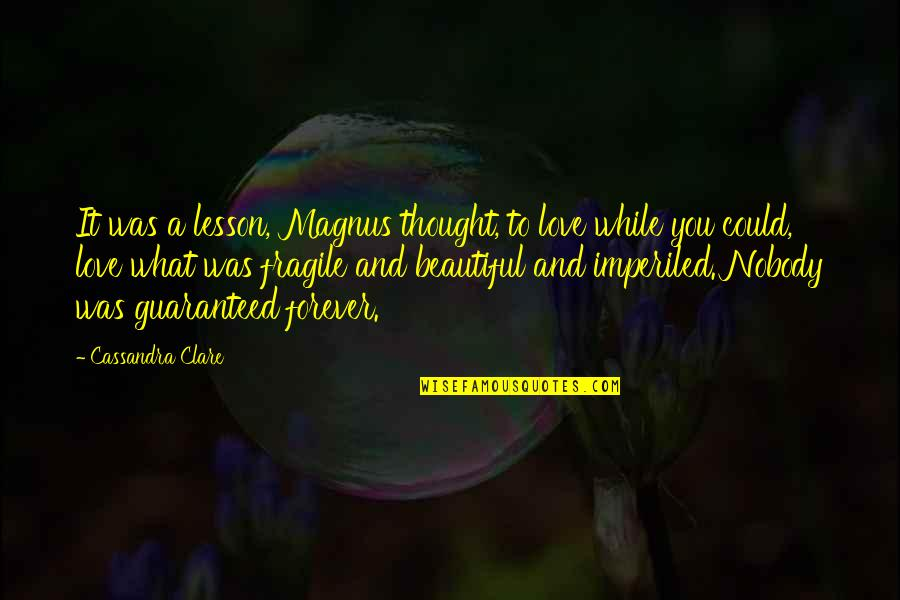 Nobody Love You Quotes By Cassandra Clare: It was a lesson, Magnus thought, to love