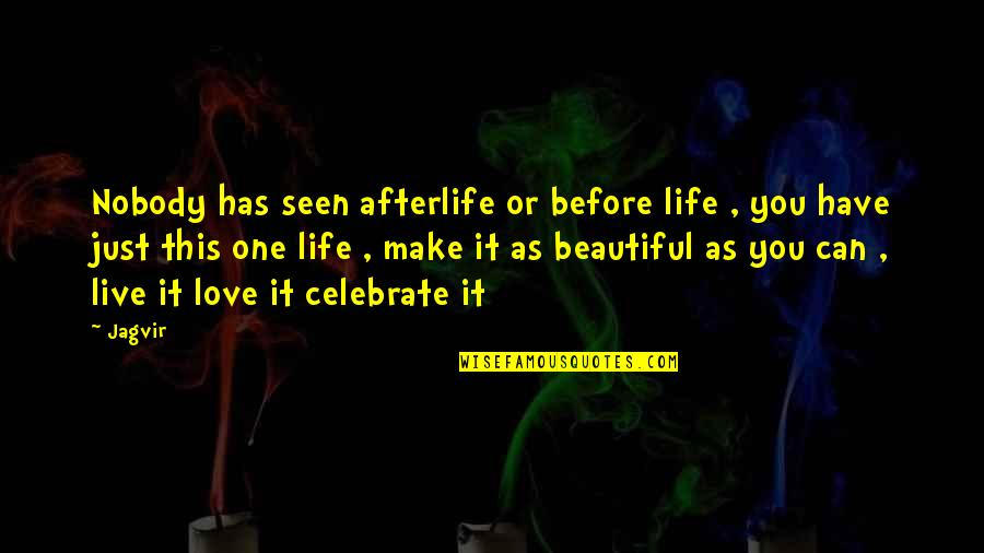 Nobody Love You Quotes By Jagvir: Nobody has seen afterlife or before life ,