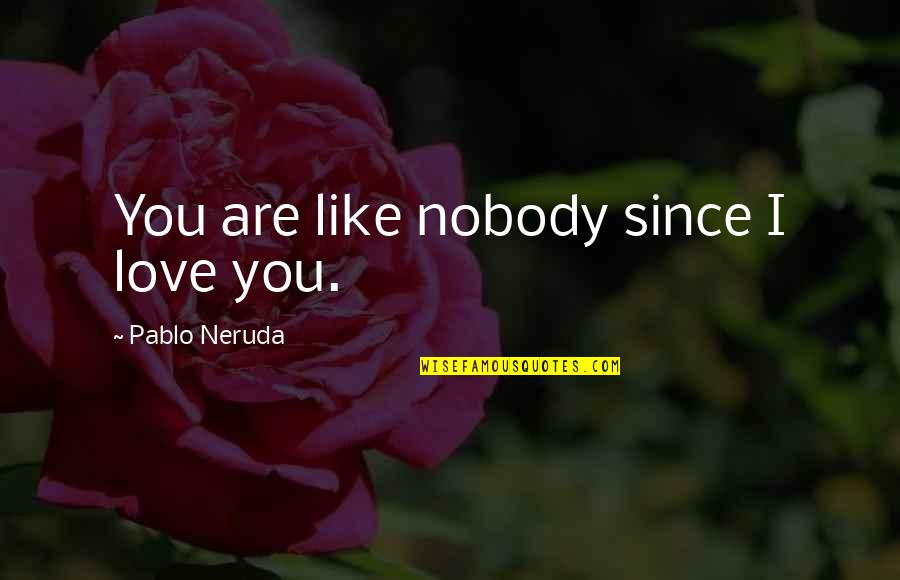 Nobody Love You Quotes By Pablo Neruda: You are like nobody since I love you.