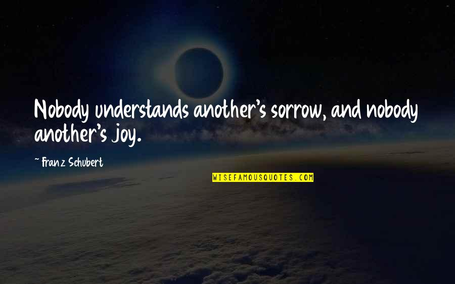 Nobody Understands Quotes By Franz Schubert: Nobody understands another's sorrow, and nobody another's joy.