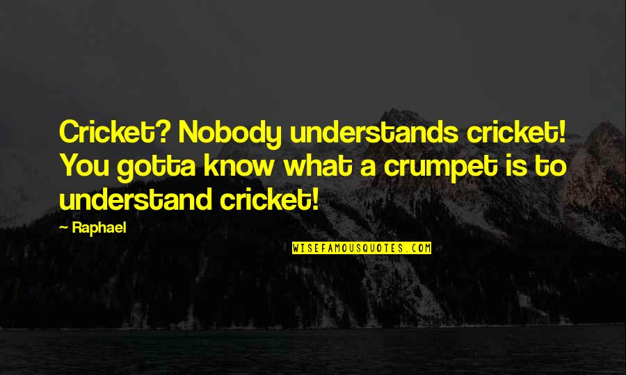 Nobody Understands Quotes By Raphael: Cricket? Nobody understands cricket! You gotta know what