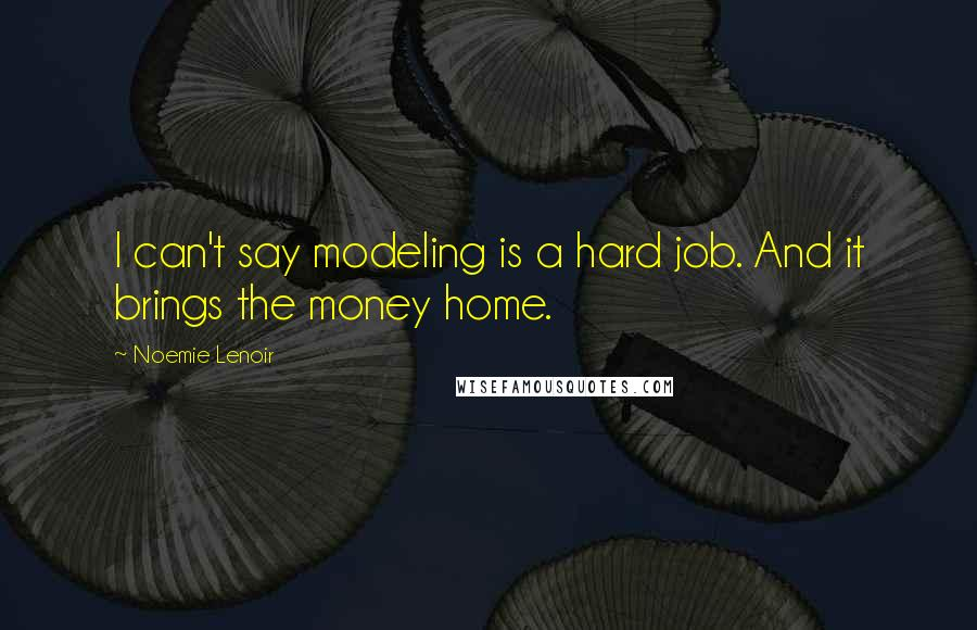 Noemie Lenoir quotes: I can't say modeling is a hard job. And it brings the money home.