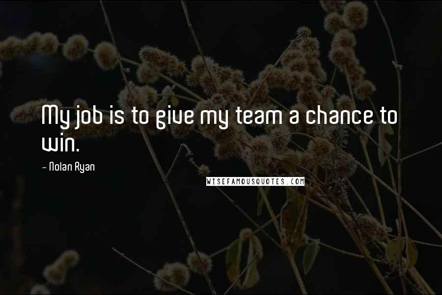 Nolan Ryan quotes: My job is to give my team a chance to win.