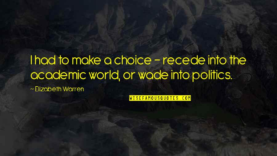 Non Academic Quotes By Elizabeth Warren: I had to make a choice - recede