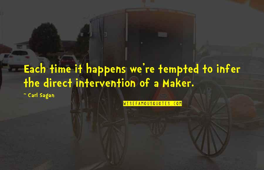 Non Intervention Quotes By Carl Sagan: Each time it happens we're tempted to infer