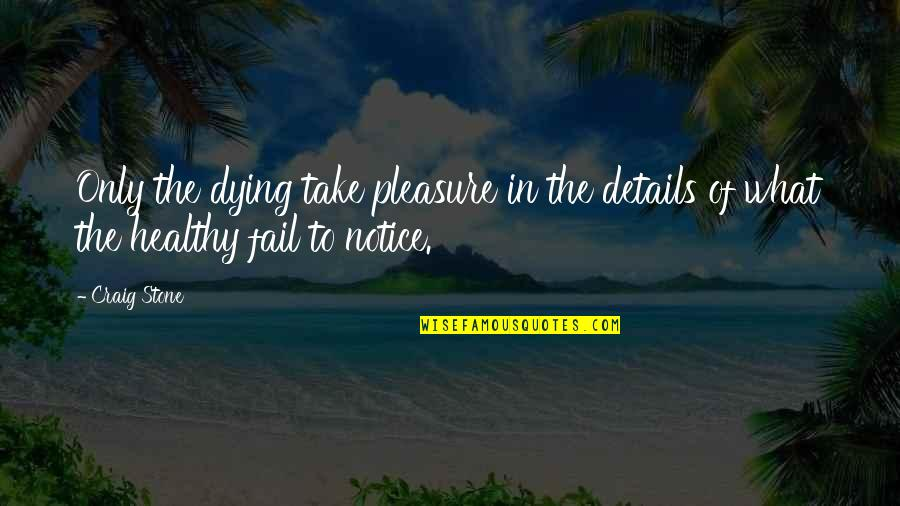 Nonartists Quotes By Craig Stone: Only the dying take pleasure in the details