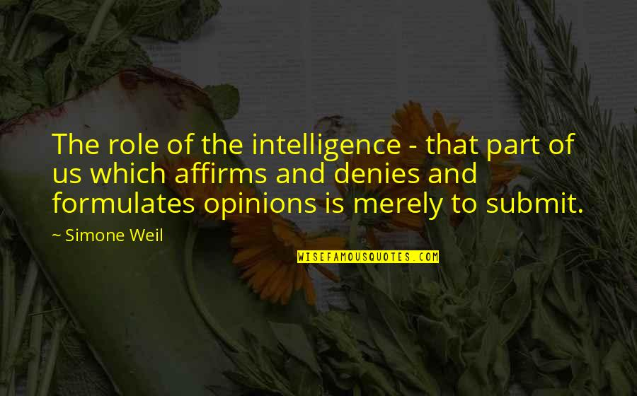 Nonexterior Quotes By Simone Weil: The role of the intelligence - that part