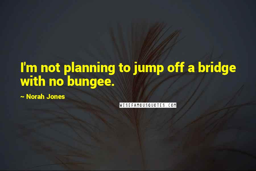 Norah Jones quotes: I'm not planning to jump off a bridge with no bungee.