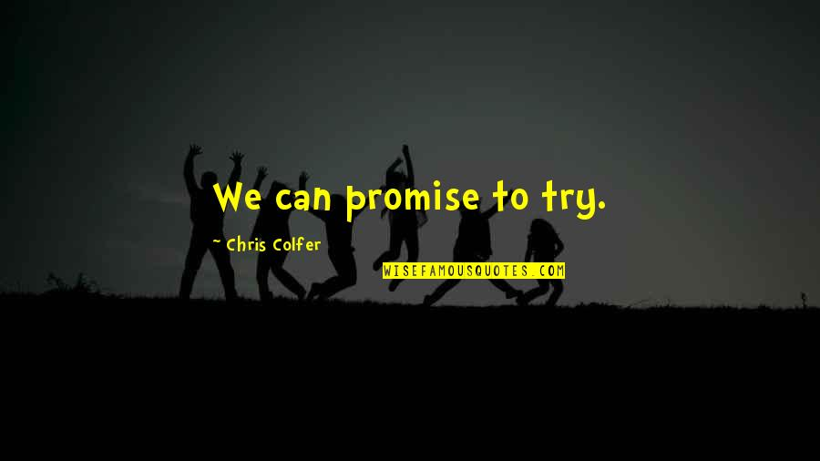 Nose Pierced Quotes By Chris Colfer: We can promise to try.