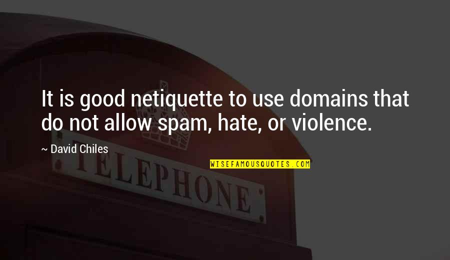 Not Being Able To Stay Strong Quotes By David Chiles: It is good netiquette to use domains that