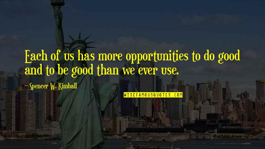 Not Being Feminine Quotes By Spencer W. Kimball: Each of us has more opportunities to do